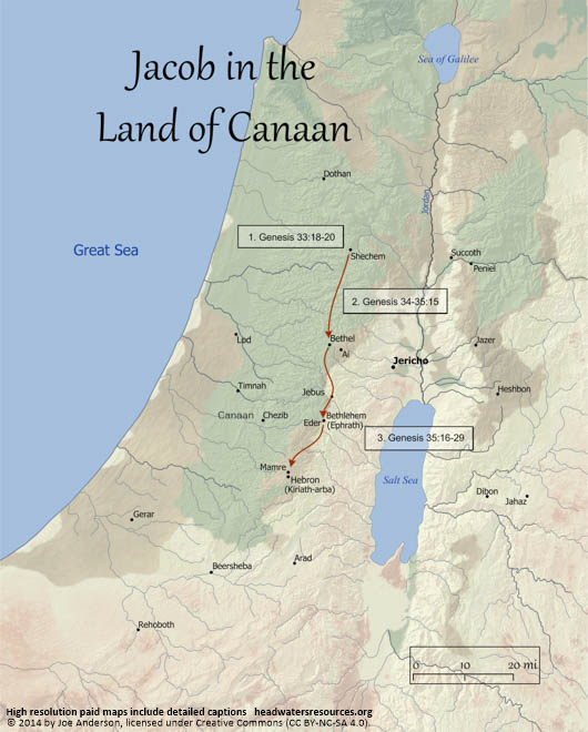 Map of Jacob in the Land of Canaan Headwaters Christian Resources