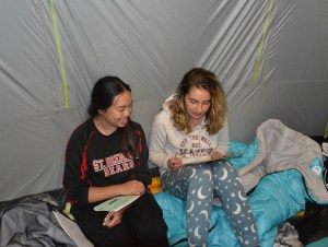 Hanging out in the tent.