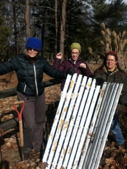 Judy, Kelly and Janet showing Sandy the successful bench removal.