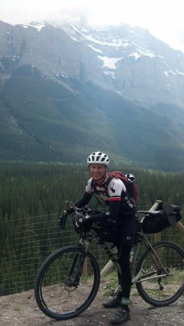 Riding into Banff with Jeff Mullen. Photo break.