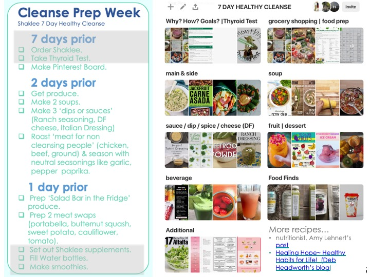 Cleanse Prep Week. READ '2 DAYS PRIOR'