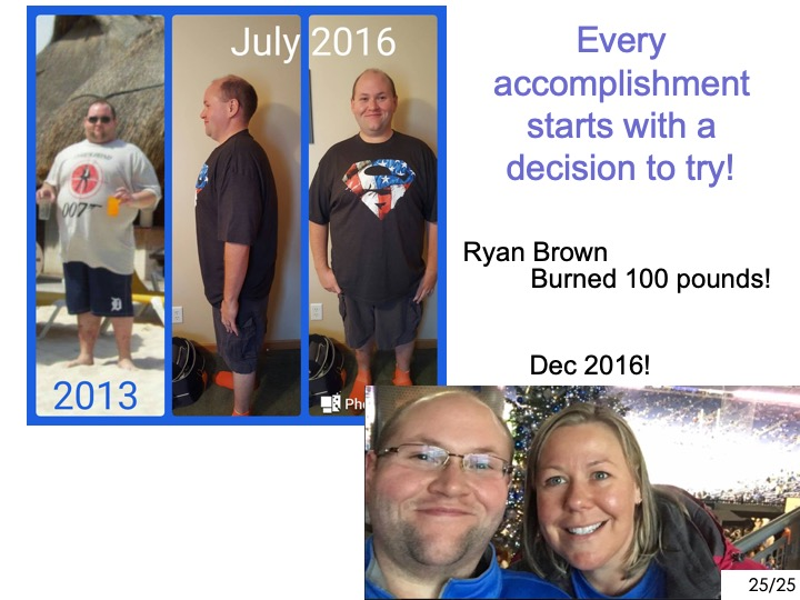 -Ryan, her husband   ------- -has lost 100 pounds so far!! -------  -They're doing so well because  -------  -they made the commitment to do shaklee together!
