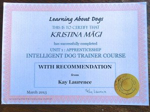 Intelligent Dog Training Course - Certificate - With Recommendation from Kay Laurence