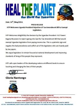 HTP Statement on Uganda President Rejection of Tax Exemption Bill for Legislators
