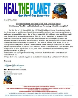 HTP STATEMENT ON THE DAY OF THE AFRICAN CHILD