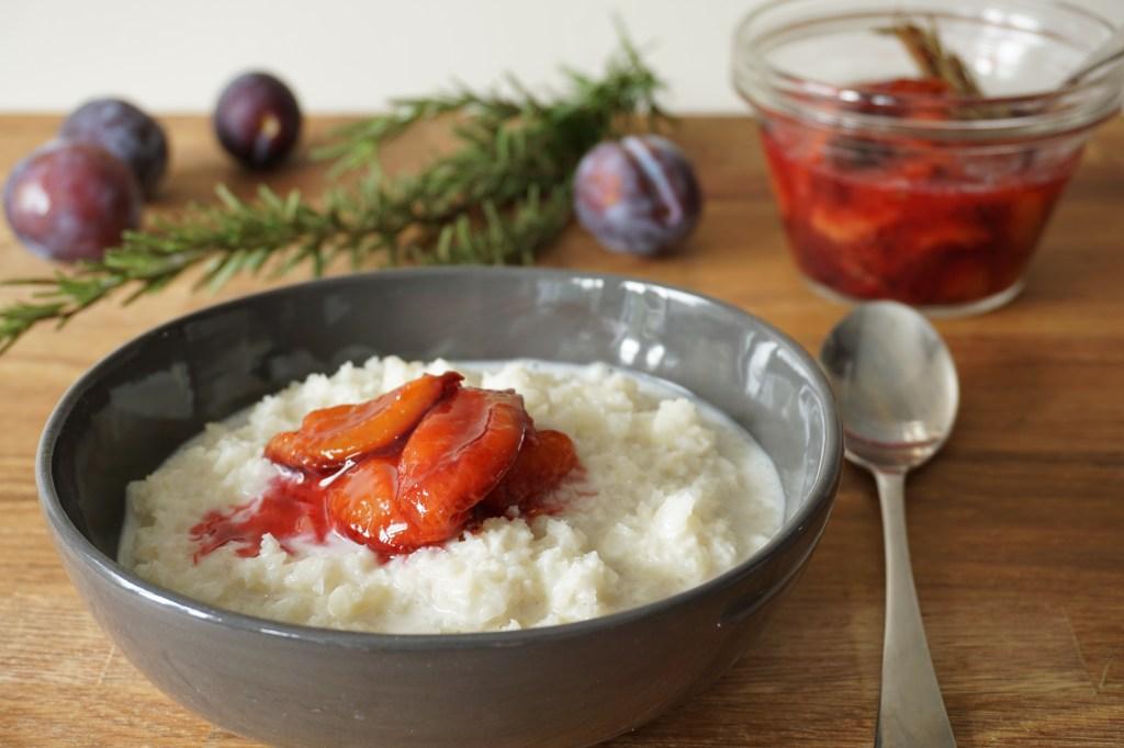cauli 'porridge' + rosemary plum compote