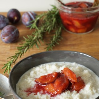 cauli 'porridge', rosemary plum compote