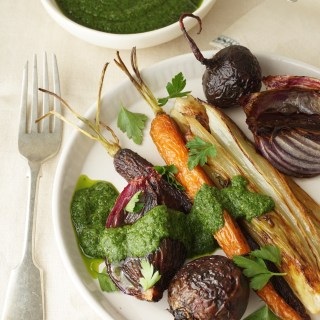 Roasted Vegetables with a Salsa Verde {AIP, GAPS, SCD, Paleo}