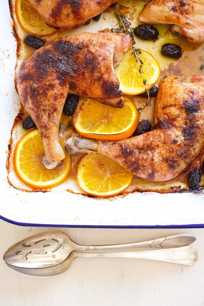 Spiced Baked Chicken with Black Olives, Orange and Thyme - portrait
