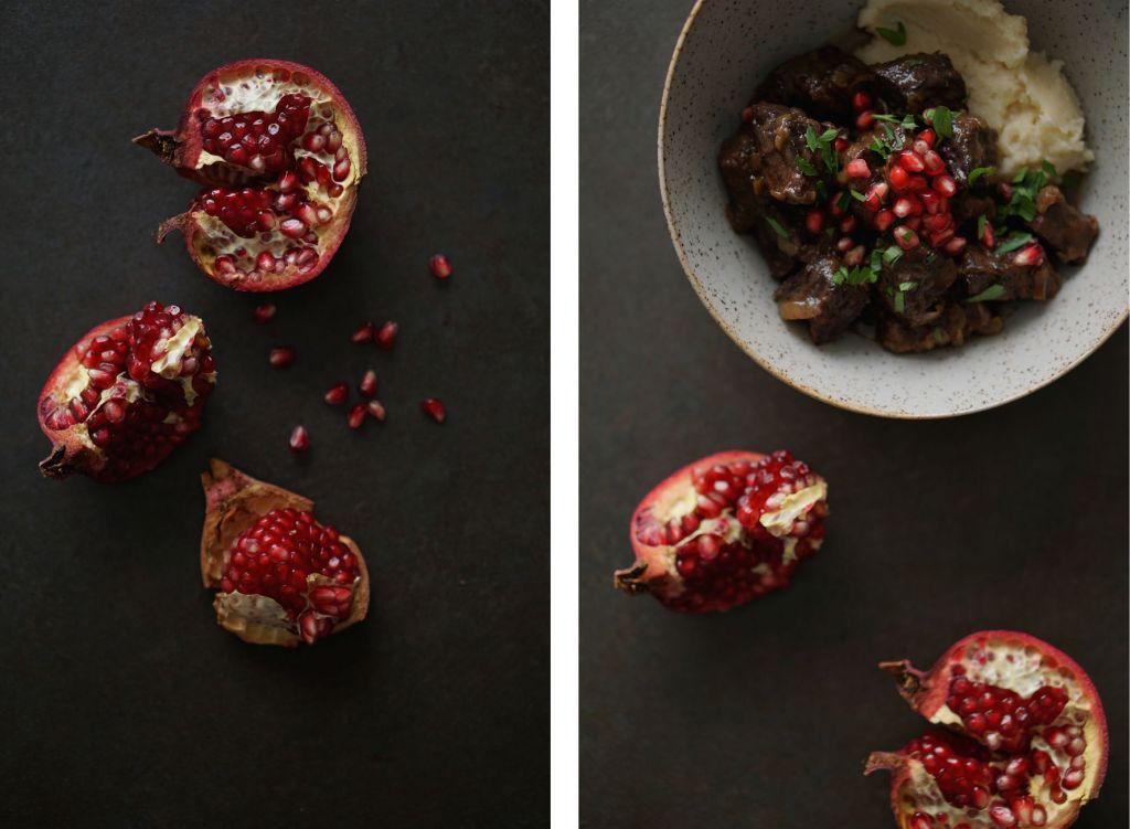 Rich Beef + Pomogranates Collage