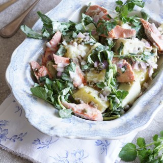 Salmon, Sweet Potato and Watercress Salad with Turmeric Cream {AIP, GAPS, SCD, Paleo}