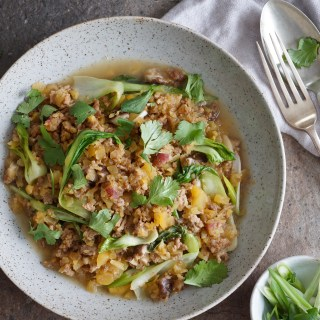 Lamb and Rutabaga Pilaf Bok Choy