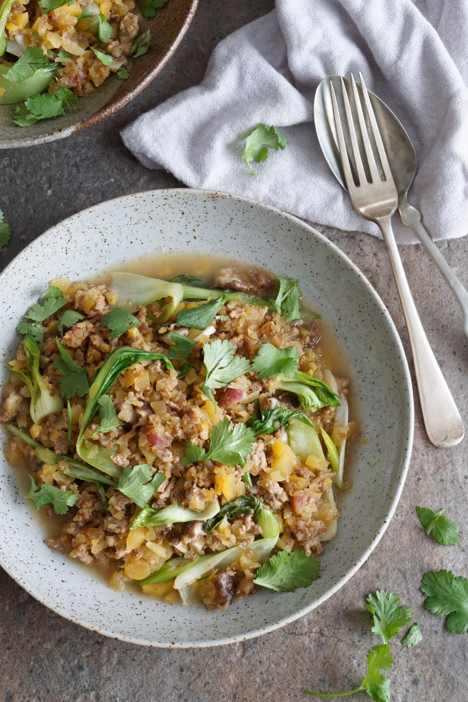 Lamb and Rutabaga Pilaf with Bok Choy