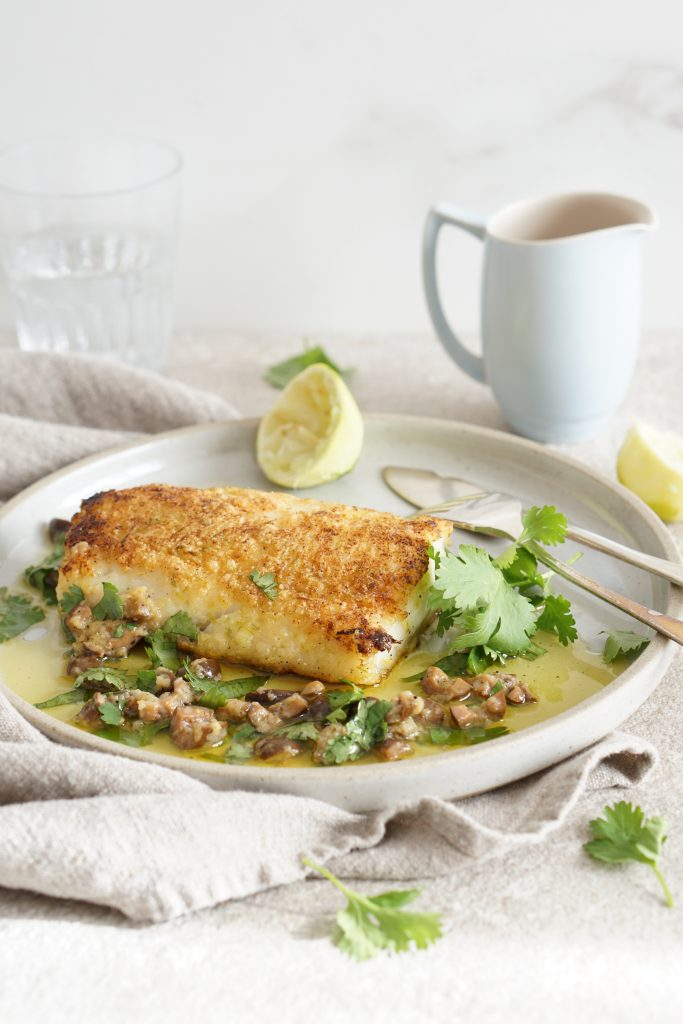 Lime-Crusted Cod Warm Olive Vinaigrette