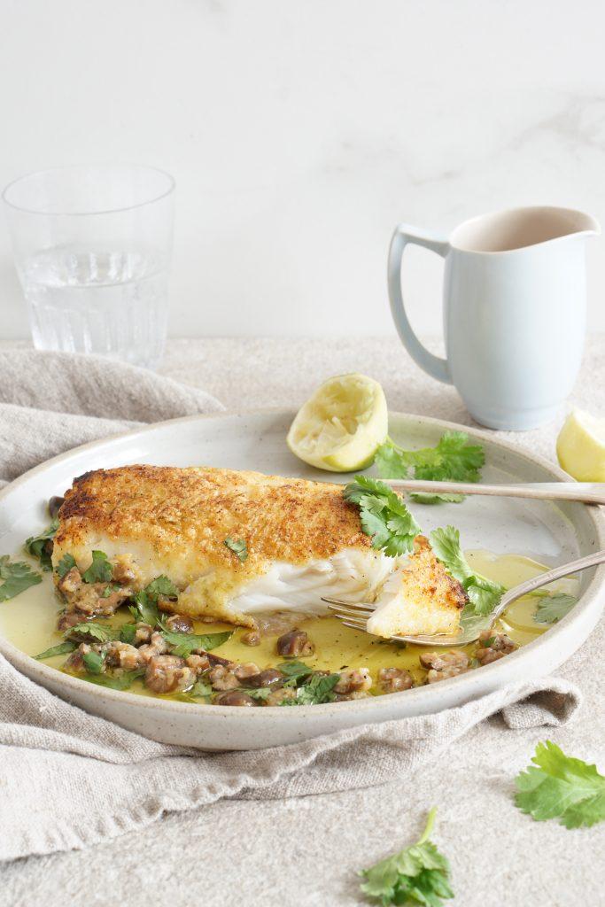 Lime-Crusted Cod Warm Olive Vinaigrette [AIP]