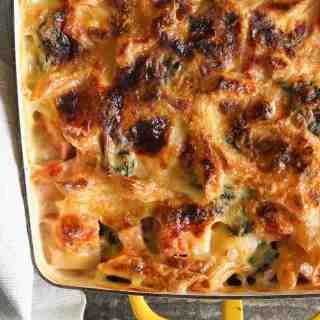 Cheesy Ham and Pasta Bake {AIP, Paleo, Reintroduction + Low FODMAP adaptable}