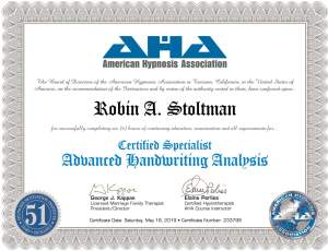 Certified Specialist Advanced Handwriting Analysis