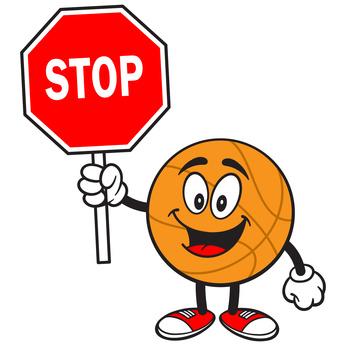 Cartoon Basketball with Stop Sign