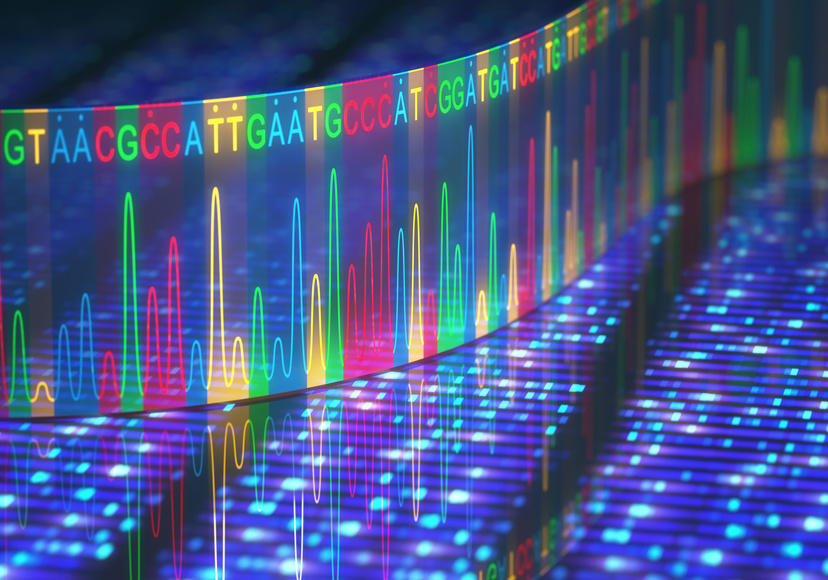 3D illustration of a method of DNA sequencing.