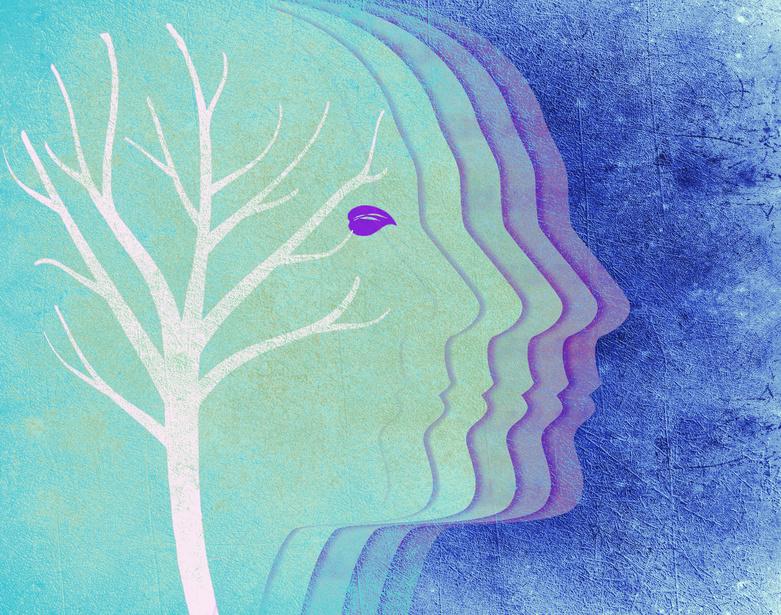 colored human head silhouette and tree digital illustration
