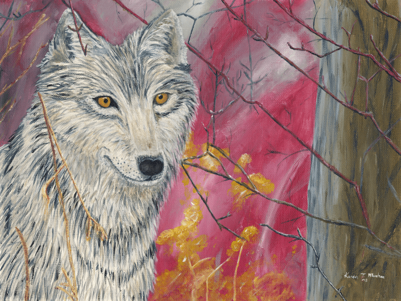 Contented Wolf painting