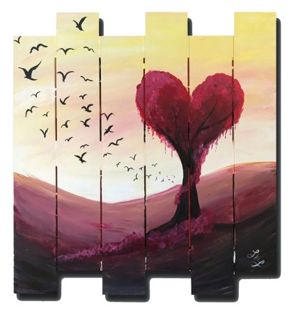 painting of red heart tree on wood planks