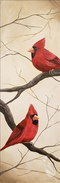 Two male cardinals on branches