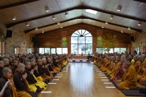 Monks and nuns in Upper Hamlet meditation hall