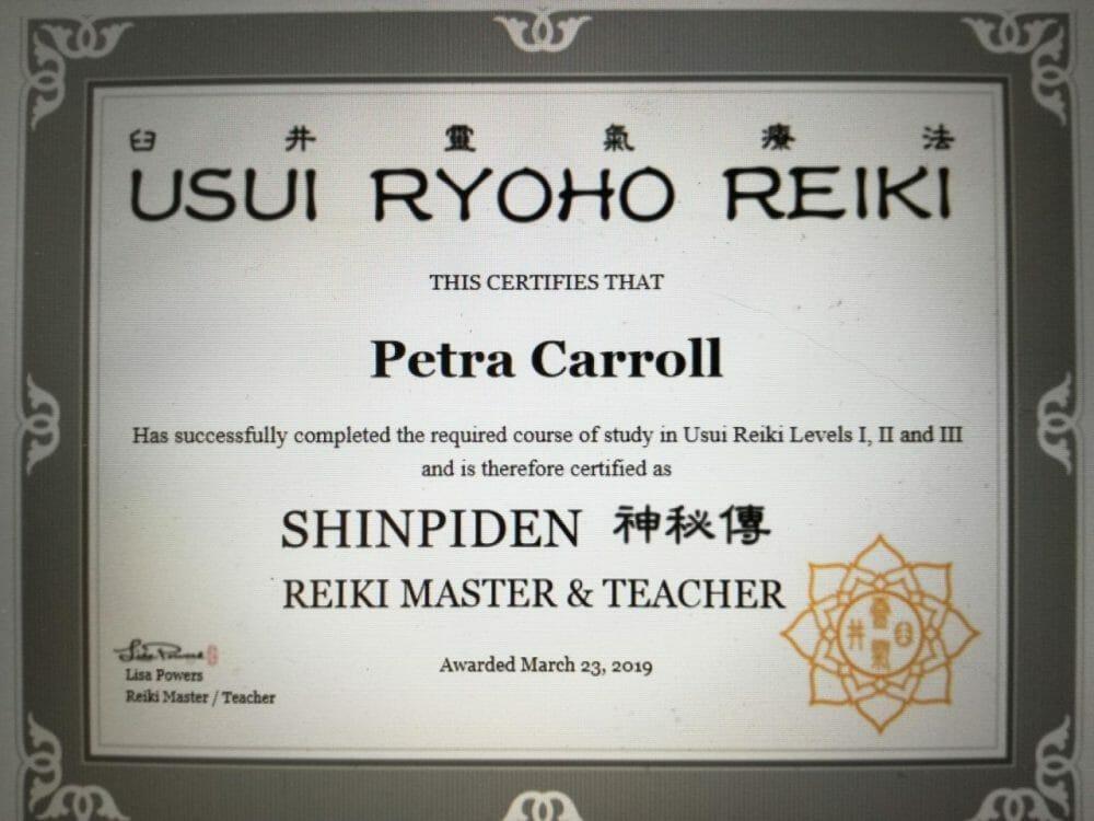 Reiki 3 Certificate Lisa
