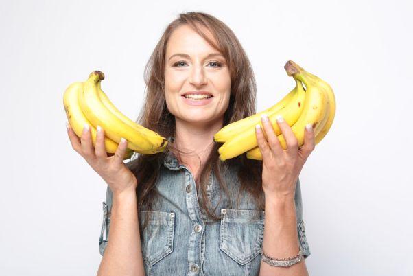 Reya with bananas