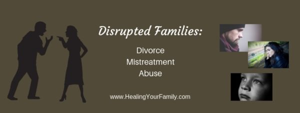 Fighting silhouette of couple fighting and sad teens and child on brown background about disrupted families