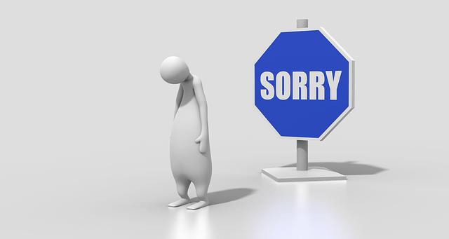 ごめん、謝罪、謝る