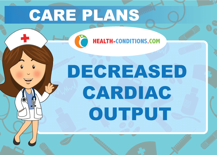 care plan decreased cardiac output Nursing diagnosis : risk for decreased cardiac output related to changes in the rate, rhythm, cardiac conduction, decrease preload or increased svr, miocardial infarction objective: there is no decrease in cardiac output during the action of nursing.