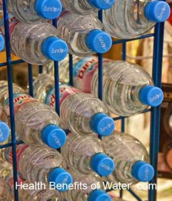 Plastic bottled water in a store
