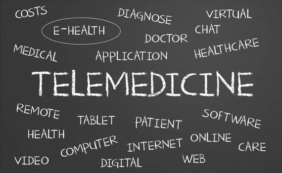 Illustration of words associated with telemedicine
