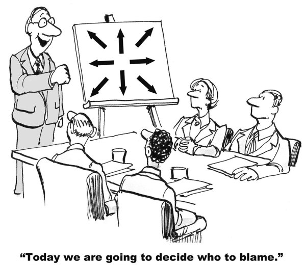 "Illustration of meeting with the caption ""Today we are going to decide who to blame."""