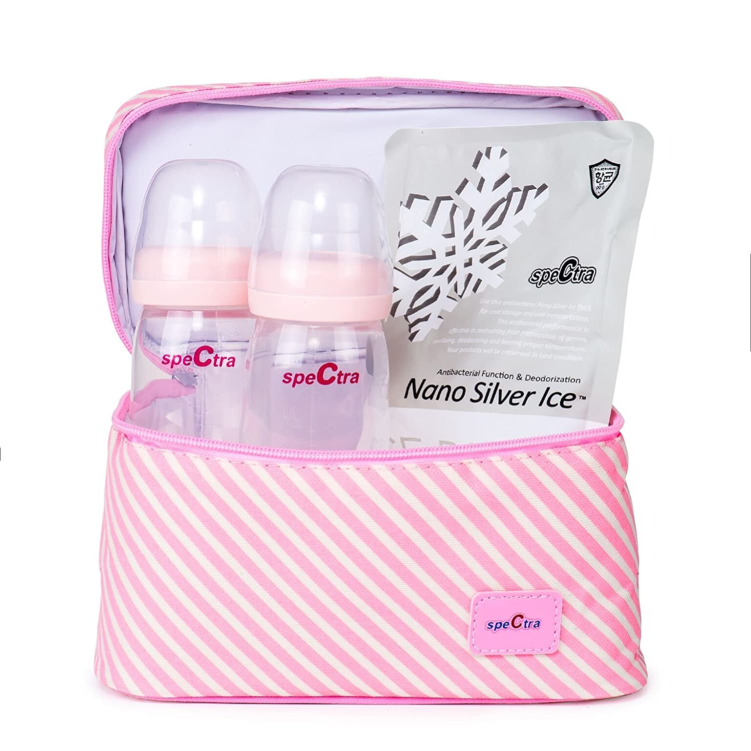 Spectra Pink Cooler with Ice Pack and Wide Neck Bottles
