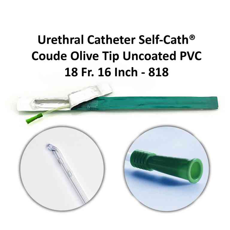 Urethral Catheter Self-Cath® Coude Olive Tip Uncoated PVC 18 Fr. 16 Inch - 818