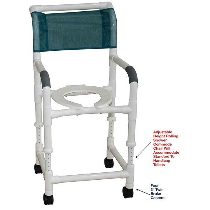 """MJM Adjustable height shower chair 22"""" Wide with Commode Pail - 122-3TW-ADJ-10-QT-C in Michigan USA"""