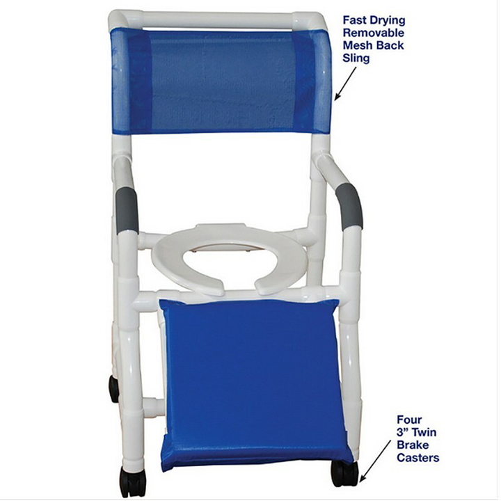 """MJM Wide shower chair 22"""" - open front seat & Below Knee Amputee 122-3TW-A in Michigan USA"""