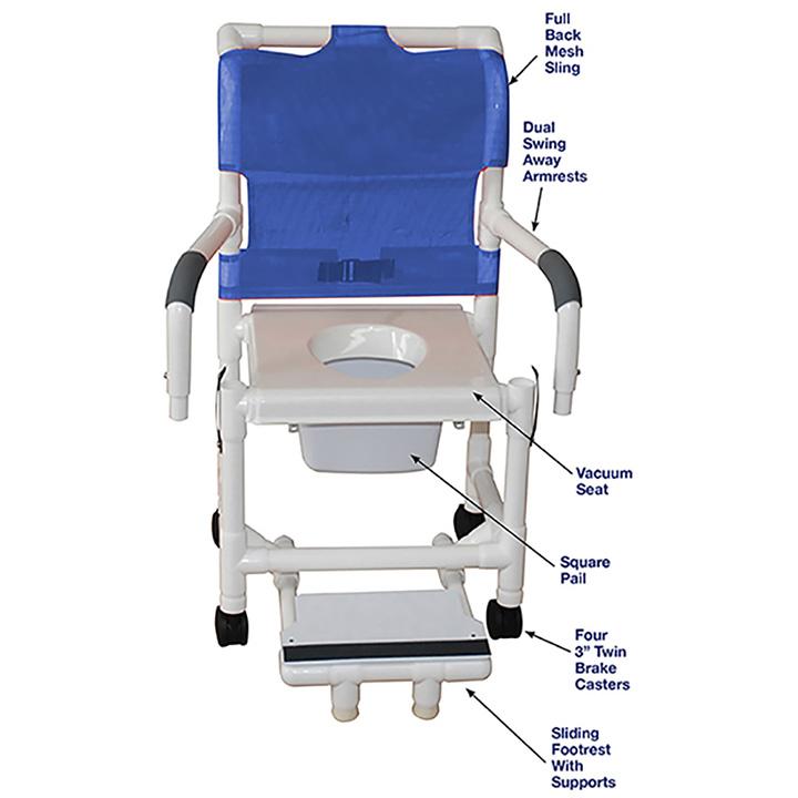 MJM SHOWER CHAIR W/VACUUM SEAT - 118-3-VS-SFS-DDA-SQ-PAIL in Michigan USA