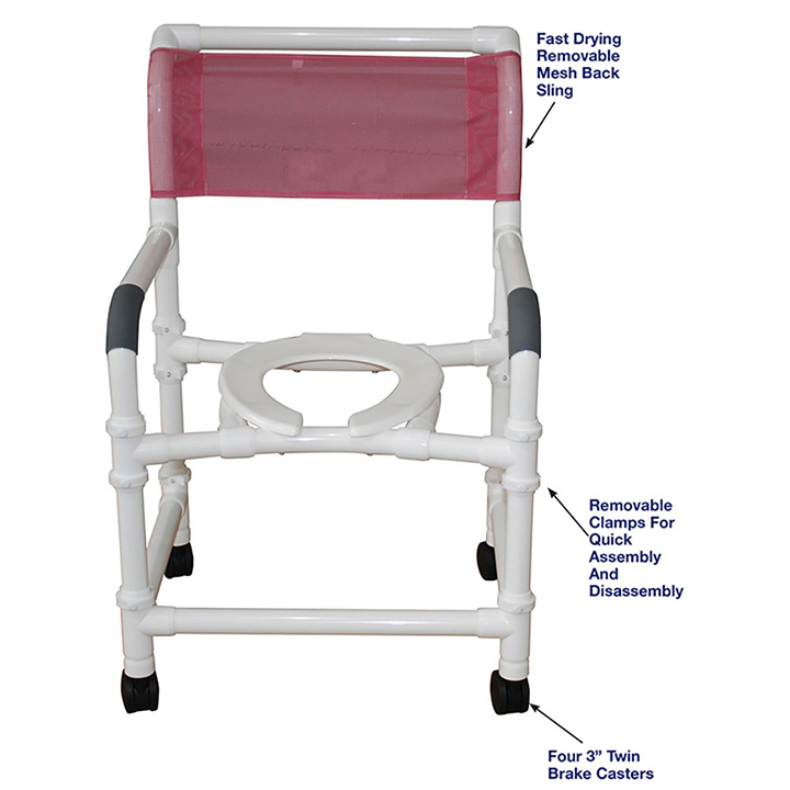 MJM SUPERIOR KNOCKDOWN MID-SIZE SHOWER CHAIR - 122-3-KD in Michigan USA