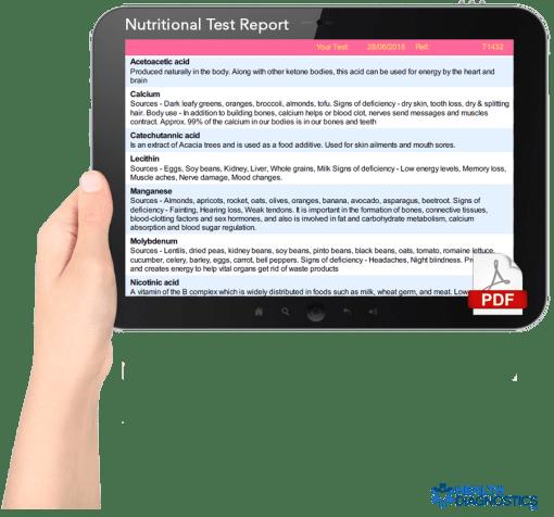 Nutrional test sample