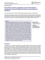 Racial/ethnic minority segregation and low birth weight in Chicago and Toronto