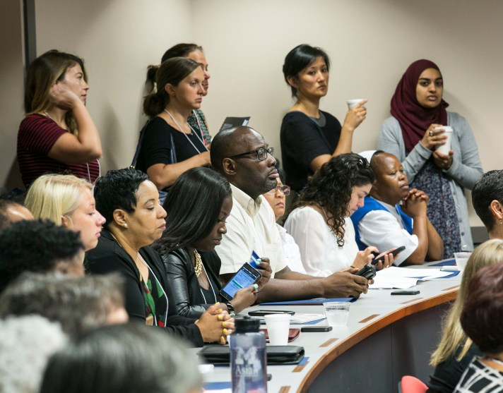A standing room only crowd for the morning session as DePaul University and their Center for Community Health Equity host the annual Health Disparities and Social Justice Conference Friday, Aug. 12, 2016, on the Loop campus. The conference focused on social justice in the context of public health in Chicago. (DePaul University/Jamie Moncrief)