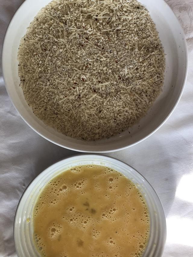 egg wash and Panko breadcrumb coating
