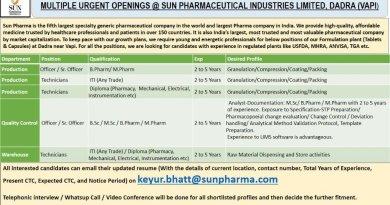 Sun Pharma Urgent openings for Multiple Positions for Bsc Msc BPharm M Pharm ITI