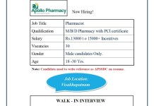 Apollo Pharmacy Walk In 23rd Oct 2020 for BPharm MPharm DPharm Freshers