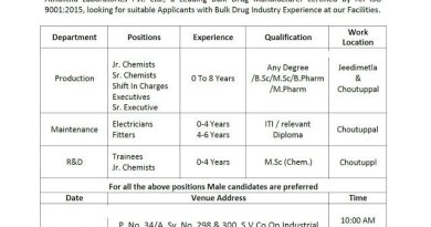 Athulitha Laboratories Pvt Ltd Walk In Interviews for Freshers and Experienced in Production R and  D Departments on 17th Oct 2020