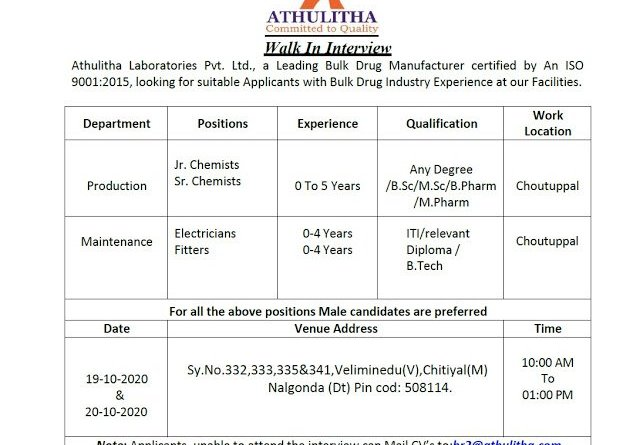 Athulitha Laboratories Pvt Ltd Walk Ins for BSc MSc BPharm MPharm Freshers and Experienced in Production on 19th and 20th Oct 2020